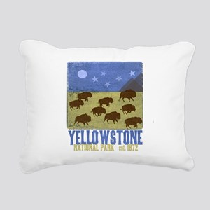 Yellowstone Bison Scene Rectangular Canvas Pillow