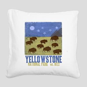 Yellowstone Bison Scene Square Canvas Pillow