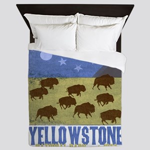 Yellowstone Bison Scene Queen Duvet