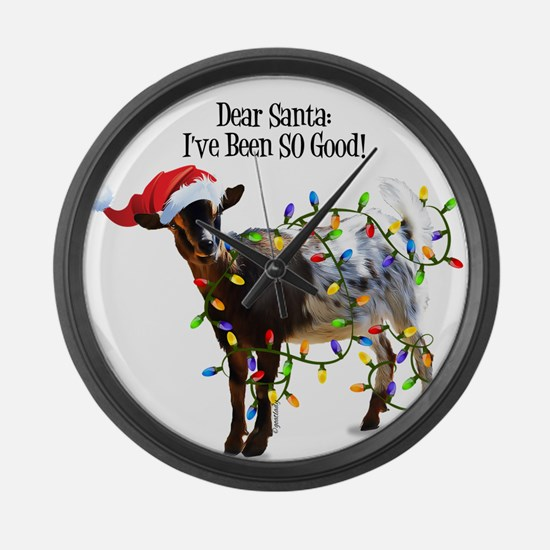 Christmas Goat I've Been So Good Large Wall Clock