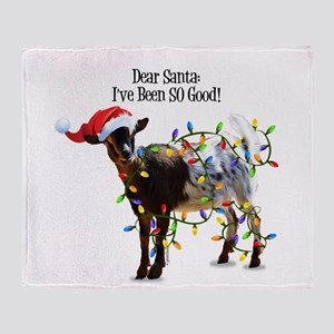 Christmas Goat I've Been So Good Throw Blanket