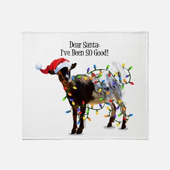 Christmas Goat I've Been So Good Throw Blanket