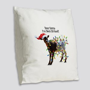 Christmas Goat I've Been So Go Burlap Throw Pillow