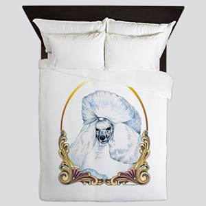 White Poodle Holiday Queen Duvet