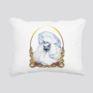 White Poodle Holiday Rectangular Canvas Pillow