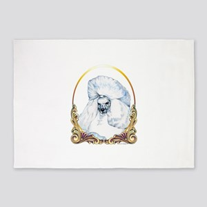 White Poodle Holiday 5'x7'Area Rug