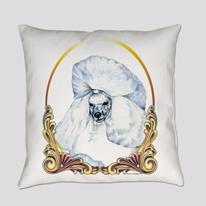 White Poodle Holiday Everyday Pillow