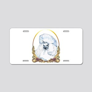 White Poodle Holiday Aluminum License Plate