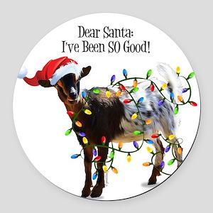 Christmas Goat I've Been So Good Round Car Magnet