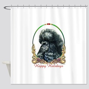Black Poodle Happy Holidays Shower Curtain
