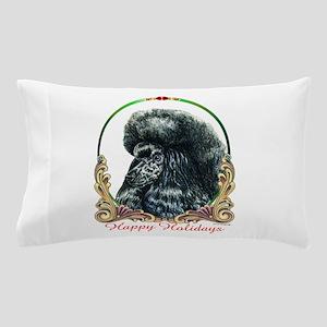 Black Poodle Happy Holidays Pillow Case
