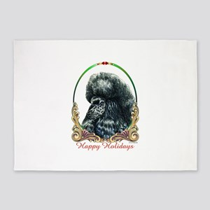 Black Poodle Happy Holidays 5'x7'Area Rug