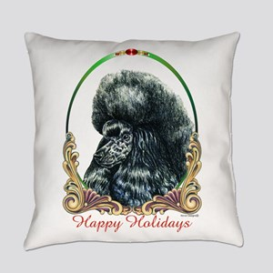 Black Poodle Happy Holidays Everyday Pillow