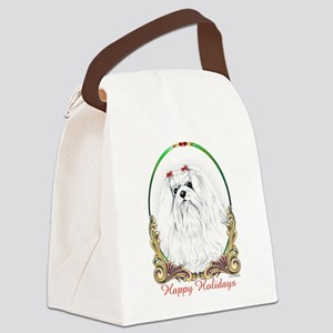 Maltese Happy Holidays Canvas Lunch Bag