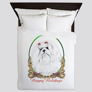 Maltese Happy Holidays Queen Duvet