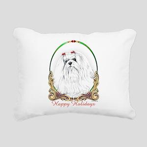 Maltese Happy Holidays Rectangular Canvas Pillow