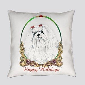 Maltese Happy Holidays Everyday Pillow