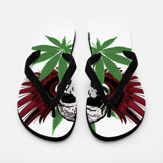 Weed Skull Flip Flops