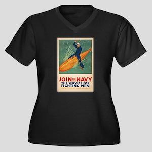 US Navy USN Women's Plus Size V-Neck Dark T-Shirt
