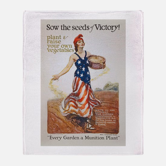 Victory Garden Liberty Sow Seeds WWI Throw Blanket