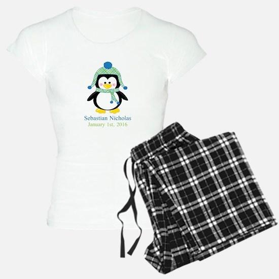 Blue Plaid Penguin Pajamas