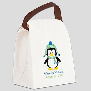 Blue Plaid Penguin Canvas Lunch Bag