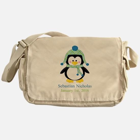 Blue Plaid Penguin Messenger Bag