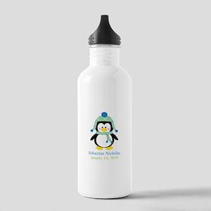 Blue Plaid Penguin Water Bottle