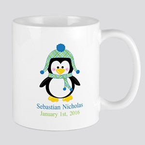 Blue Plaid Penguin Mugs