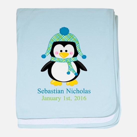Blue Plaid Penguin baby blanket