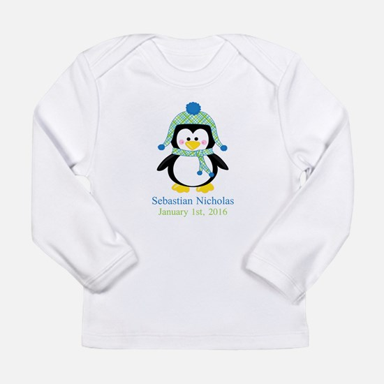 Blue Plaid Penguin Long Sleeve T-Shirt