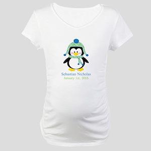 Blue Plaid Penguin Maternity T-Shirt