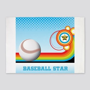 Baseball and Rainbow Stripe BASEBAL 5'x7'Area Rug