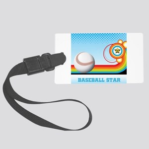 Baseball and Rainbow Stripe BASE Large Luggage Tag
