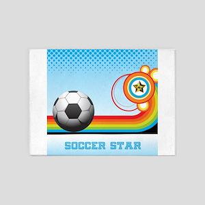 SOCCER Ball and Rainbow Stripe SOCC 5'x7'Area Rug