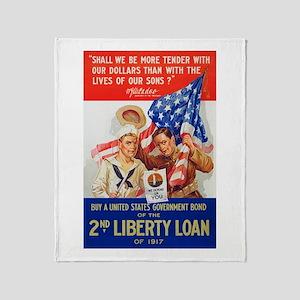 US War Bonds 2nd Liberty Loan WWI Pr Throw Blanket