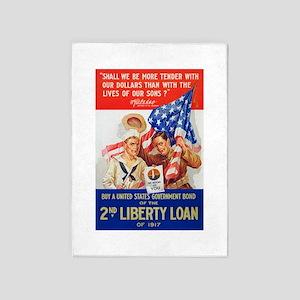 US War Bonds 2nd Liberty Loan WWI P 5'x7'Area Rug