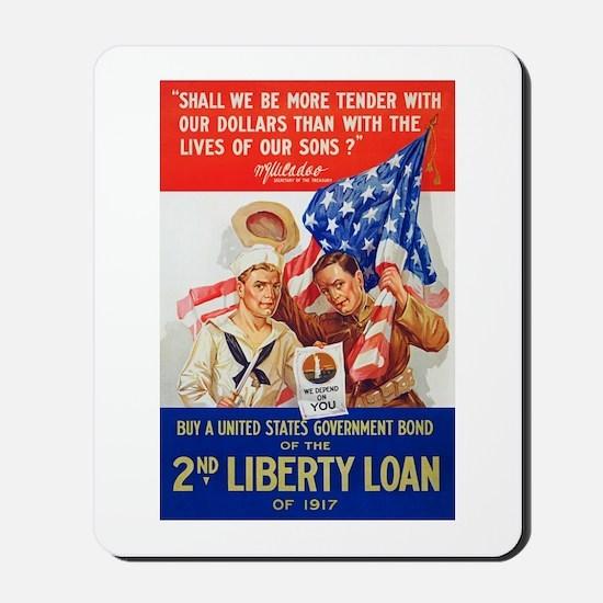 US War Bonds 2nd Liberty Loan WWI Propag Mousepad