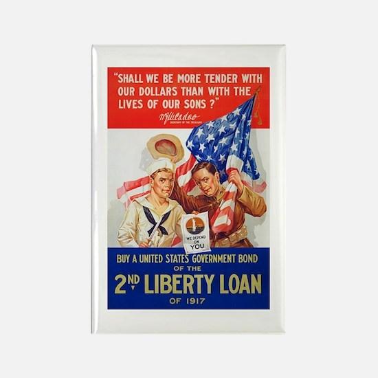 US War Bonds 2nd Liberty Loan WWI Rectangle Magnet
