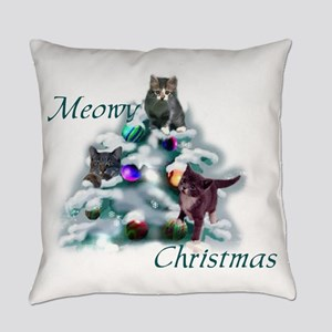 Meowy Christmas Cat Lovers Everyday Pillow