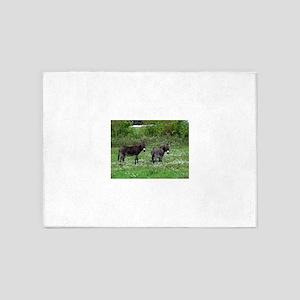 Two Miniature Donkeys 5'x7'Area Rug