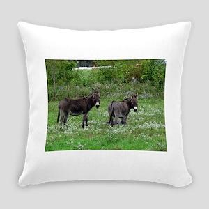 Two Miniature Donkeys Everyday Pillow