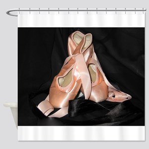Ballet Shoes on Black Shower Curtain