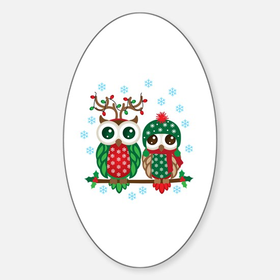 Cute Green owl Sticker (Oval)