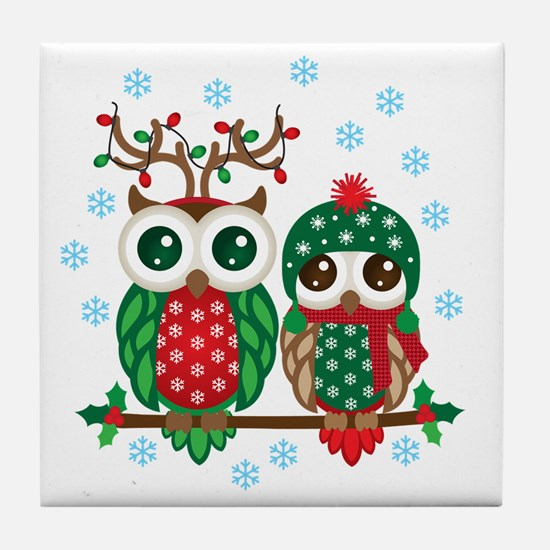 Cute Christmas owls Tile Coaster