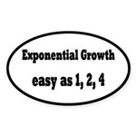 Exponential Growth 1, 2, 4 Sticker (Oval)