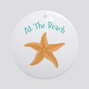 At The Beach Round Ornament