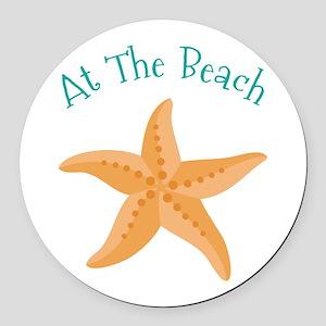 At The Beach Round Car Magnet