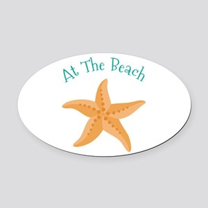 At The Beach Oval Car Magnet