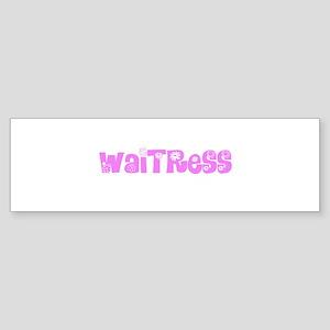 Waitress Pink Flower Design Bumper Sticker